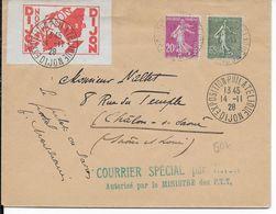 1928 - COTE D'OR - ENVELOPPE COURRIER SPECIAL Par AVION De DIJON EXPO Avec RARE VIGNETTE AVIATION => CHALONS SUR SAONE - Airmail