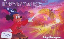 Télécarte Japon / 110-79082 - DISNEY - NOUVEL AN - HAPPY NEW YEAR 1990 (5888) Mickey Minnie Danse Dance  Japan Phonecard - Disney
