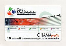 Telecom - Scheda Chiama Gratis - 2001 - CENTRO MULTIMEDIALE - 10 Minuti Di Conversazione Gratuita - NUOVA - (FDC7982) - [2] Sim Cards, Prepaid & Refills