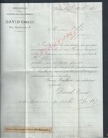 FACTURE DE 1875 DAVID ERNEST DROGUERIES TEINTURE PEINTURE À NIMES : - France