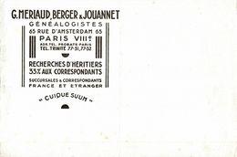 BUVARDS  G . MERLAUD BERGER JOUANNET GENEALOGISTES - G
