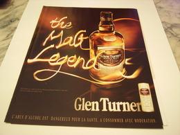 PUBLICITE AFFICHE  WHISKY GLEN TURNER  2011 - Alcohols