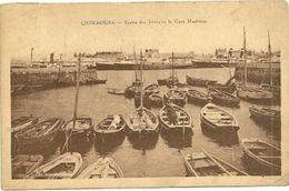 MANCHE - Dépt N° 50 = CHERBOURG 1929 = CPA = Sortie Des Jetées Et Gare Maritime + KRAG - Cherbourg