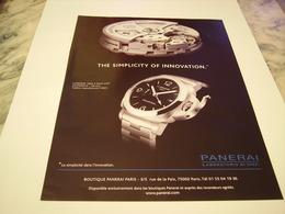 PUBLICITE AFFICHE MONTRE PANERAI  2011 - Jewels & Clocks
