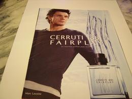 PUBLICITE AFFICHE PARFUM CERRUTI 1881 AVEC M.LAVOINE 2011 - Fragrances