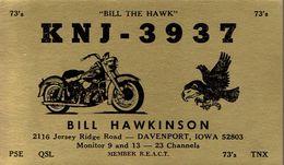 Moto Motorbike On Very Old QSL From Bill Hawkinson, Jersey Ridge Road, Davenport, Iowa, USA (KNJ 3937) October 1967 - CB