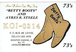 Betty Boots On Very Old QSL From Ayres R. Steele, Lewes, Delaware, USA (KOI 0214) November 1967 - CB