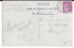 """1933 - BOURGET AVIATION - CP BAPTEME De L'AIR  AVION """"CAUDRON"""" SOUVENIR D'un VOL EFFECTUE à La SDA => CRAVANT (LOIRET) - 1927-1959 Lettres & Documents"""