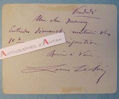 Carte Autographe Louis LELOIR Acteur à Alphonse DUVERNOY Pianiste Compositeur - Comédie-Française - Lettre L.A.S - Autographes