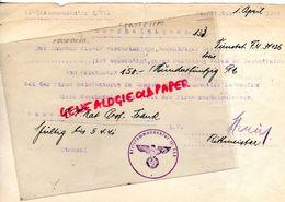 88- SAINT DIE-GUERRE 1939-1945-WW 2- KREISKOMMANDATUR 711-1941-RARE CERTIFICAT MANUFACTURE SENONES MOYENMOUTIER - Documentos Históricos
