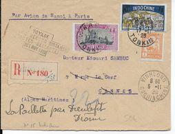 """1929 - INDOCHINE - ENVELOPPE Par AVION """"VOYAGE COSTES - BELLONTE"""" RECOMMANDEE De VINHLONG => CANNES REEXPEDIEE DIEULEFIT - Poste Aérienne"""