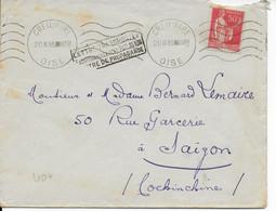 1933 - ENVELOPPE TRANSPORTEE EXCEPTIONNELLEMENT Par AVION à TITRE De PROPAGANDE De CREIL (OISE) => SAÏGON (INDOCHINE) - 1927-1959 Lettres & Documents