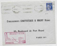 1938 - ENVELOPPE De NICE - INAUGURATION De La LIGNE POSTE AERIENNE PARIS-NICE - Poste Aérienne