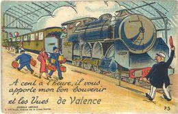 Cp Ville Système Dépliant – Vues De Valence ( Gare, Train ) - Valence