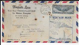 1939 - ENVELOPPE Par VOL TRANSATLANTIQUE NEW YORK à PARIS - 1° VOL FAM 18 - 1927-1959 Lettres & Documents