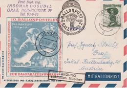 AUTRICHE 1953 LETTRE DE GRAZ  POSTE PAR BALLON - Ballonpost