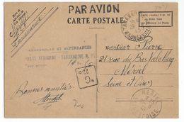 1945 - MADAGASCAR - CARTE PSEUDO ENTIER AVION Avec TAMPON TAXE PERCUE POSTE AERIENNE De TANANARIVE => MERIEL - 1927-1959 Lettres & Documents
