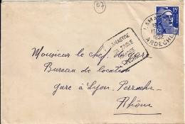07 - ARDECHE - LAMASTRE - DAGUIN FLAMME - 1952   LAM201 - Marcophilie (Lettres)