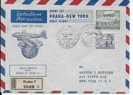 1946 - TCHECOSLOVAQUIE - ENVELOPPE  RECOMMANDEE 1° VOL PRAGUE à NEW YORK (USA) - Tchécoslovaquie
