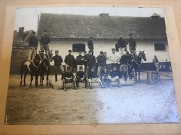 Oude Albumine Foto Gent Photo Gand H Geirland Soldaten Soldats Militaires Caserne Cheval ... - Antiche (ante 1900)