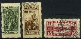 USSR 1925 Michel 302C-304C 20th Anniversary Of Revolution Of 1905. Used Perf. 13 1\2 - Usados