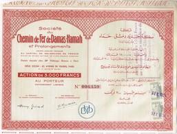 Action Ancienne - Sté Du Chemin De Fer De Damas-Hamah Et Prolongements - Titre De 1954 - - Chemin De Fer & Tramway