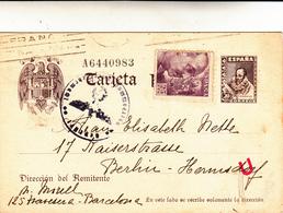 Barcellona Per Berlino, Cartolina Intero Postale 1941. Con Censura Tedesca - 1931-50 Storia Postale