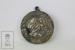 Antique Spanish Art Nouveau Embossed Lady Portrait With Flowers- Medal/ Pendant - Spain