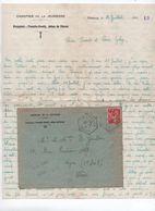1941 - TEXTE +++ & ENVELOPPE Du CHANTIER DE LA JEUNESSE GROUPEMENT FRANCHE COMTE JEAN DE VIENNE Avec TàD CROTENAY (JURA) - Marcophilie (Lettres)