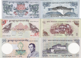 Bhutan Set 3 Pcs 1+5+10 Ngultrum - Pick 27-29 UNC Random Years - Bhutan
