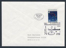 Austria Österreich 1990 Cover Brief + 2010 YT 1839- 3. Eisstockschießen Weltmeisterschaft, Wien / World Icestock, Vienna - Winter (Varia)