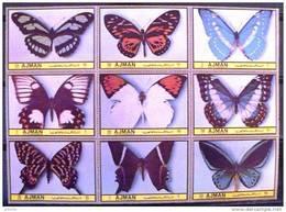 AJMAN PAPILLONS (serie 75/83).  9 Valeurs Neuves Sans Charniere. MNH (3 Bandes De 3) - Mariposas