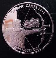 """BHUTAN 300 NGULTRUM 1992 SILVER PROOF """"OLYMPIC GAMES 1992"""" (free Shipping Via Registered Air Mail) - Bhoutan"""