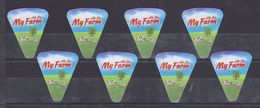AC -  MY FARM TRIANGLE TRIANGULAR CREAM CHEESE LABELS 8 PIECES MADE IN EGYPT TO EXPORT TO IRAQ - Cheese