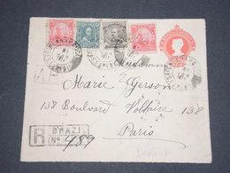 BRÉSIL - Entier Postal ( Devant D'enveloppe ) En Recommandé Pour Paris En 1911 - L 12704 - Entiers Postaux