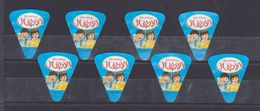 AC -  LES ENFANTS TRIANGLE TRIANGULAR CREAM CHEESE LABELS 8 PIECES BOUGHT FROM IRAQ - Cheese