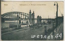 Tilsit V.1916 Hafenpartie An Der Königin Louisen Brücke -- Schiff,Pferdefuhrwerk (13314) - Ostpreussen