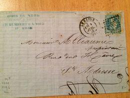 FRANCE LETTRE 1870 TIMBRE NAPOLEON LAURE  -(BOIS DU NORD-CH.HUMBERT) - 1863-1870 Napoléon III Lauré