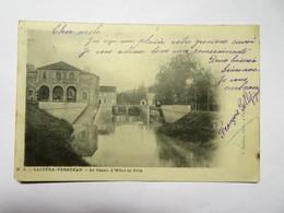 C.P.A. 32 CASTERA VERDUZAN : Le Canal, L'Hôtel De Ville, Timbres En 1904 - Castera