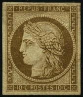 * N°1 10c Bistre, Signé Calves - TB - France