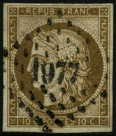 Oblit. N°1 10c Bistre - TB - France