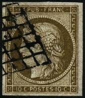 Oblit. N°1a 10c Bistre Brun - TB - France