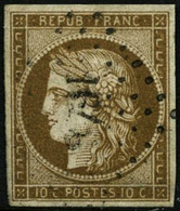 Oblit. N°1b 10c Bistre Verdâtre - TB - France