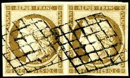 Oblit. N°1b 10c Bistre  Verdâtre, Paire - TB - France