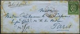Lettre N°2 15c Vert, Obl Grille S/lettre Cachet D'arrivée Au Verso 17/1/51 - TB - France