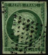 ** N°2b 10c Vert Foncé, Obl étoile Signé Scheller - TB - France