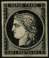 ** N°3 20c Noir S/jaune - TB - France