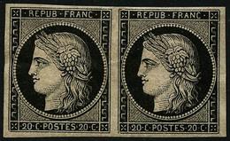 ** N°3 20c Noir S/jaune, Paire Luxe  - TB - France