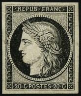 * N°3a 20c Noir S/blanc, Signé Brun - TB - France