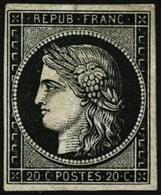 * N°3a 20c Noir S/blanc - TB - France